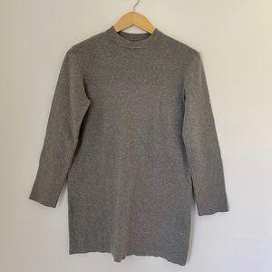 Gray Forever 21 Knit Mock Neck Long Sleeve Dress